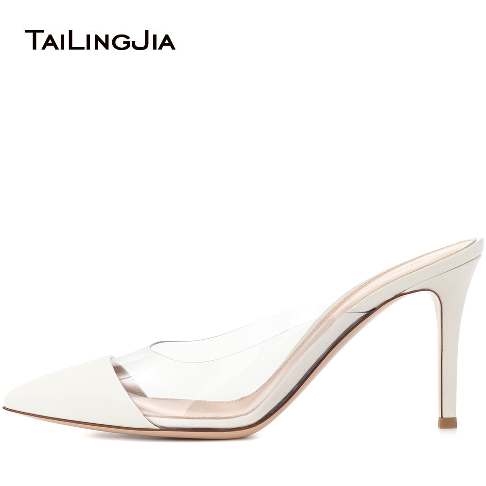 Transparent PVC Pointy Toe High Heel Mules for Women White Elegant Dress Heels Stiletto Slingbacks Ladies Summer Daily Shoes in High Heels from Shoes