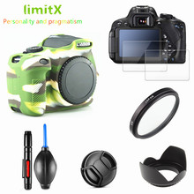 Full Protect Kit Screen Protector Camera case bag UV Filter Lens hood Cap pen for Canon EOS 1300D 1500D Redel T6 18 55mm lens