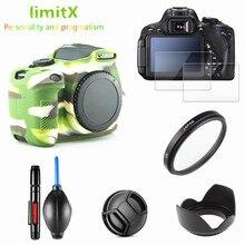 Kit de protección completa funda protectora de pantalla para cámara bolsa lente con filtro ultravioleta tapa de capucha pluma para Canon EOS 1300D 1500D Redel T6 18 55mm lente