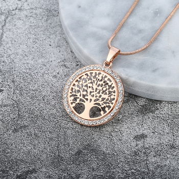 Hot Tree of Life Crystal Round Small Pendant Necklace Gold Silver Colors Bijoux Collier Elegant Women Jewelry Gifts Dropshipping 1