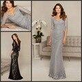 Elegante Com Decote Em V Cinza Renda Mãe Vestidos de Noite para Casamento Bainha Metade Mangas Mãe dos Vestidos de Noiva com Contas de Cristal