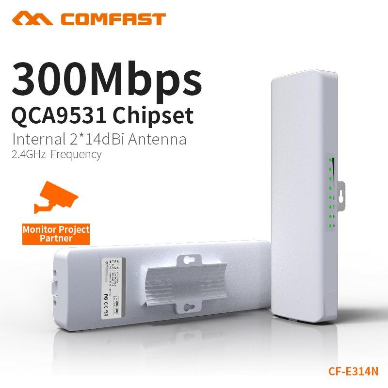 COMFAST 300 Mbps Extérieure CPE 2.4g Wifi Pont 5 km Chien De Garde Puce Extender Récepteur CPE Routeur 48 v POE WIFI Routeur 1 paire CF-E314N