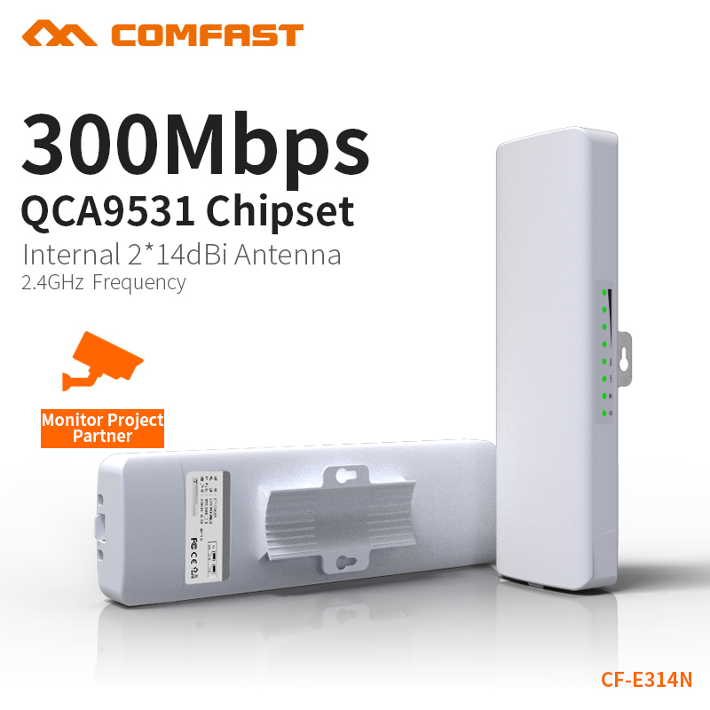COMFAST 300Mbps Outdoor CPE 2.4G Wifi Bridge 5KM Watchdog Chip Extender Receiver CPE Router 48v POE WIFI Router 1 pair CF-E314N