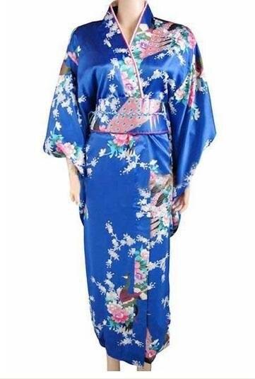 Promosyon Mavi Kadın Seksi Ipek Kimono Japon Tarzı Vintage Yukata Ile Obi Abiye Toptan Ve Perakende Bir boyut H002