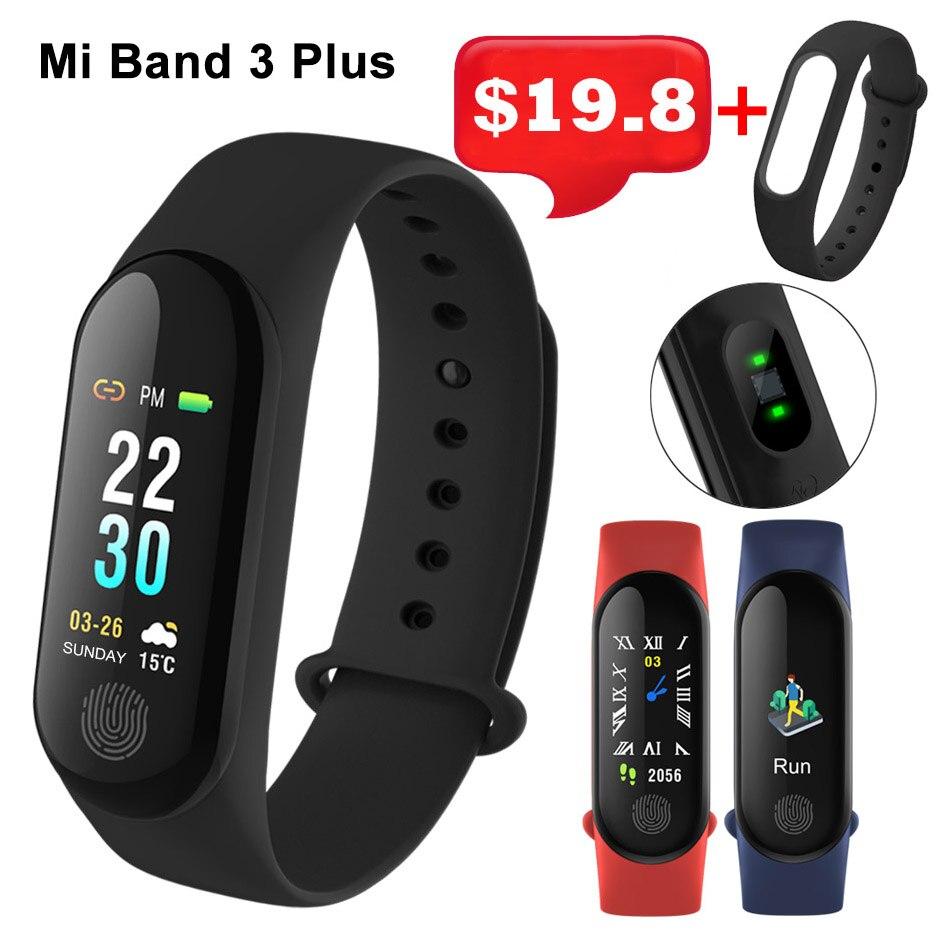 Xiao Mi Band 3 Smart Bracelet Mi3 Blood Pressure Heart Rate Monitor OLED Waterproof Wristbands Mi band3 Mi M3 Plus Free Strap