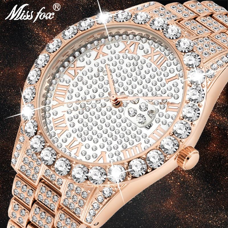 Relogio Masculino Missfox Luxury Brand Man Watch Replica Imitaciones De Marcas 18K Gold Diamond Modern Men Watch With Coupons