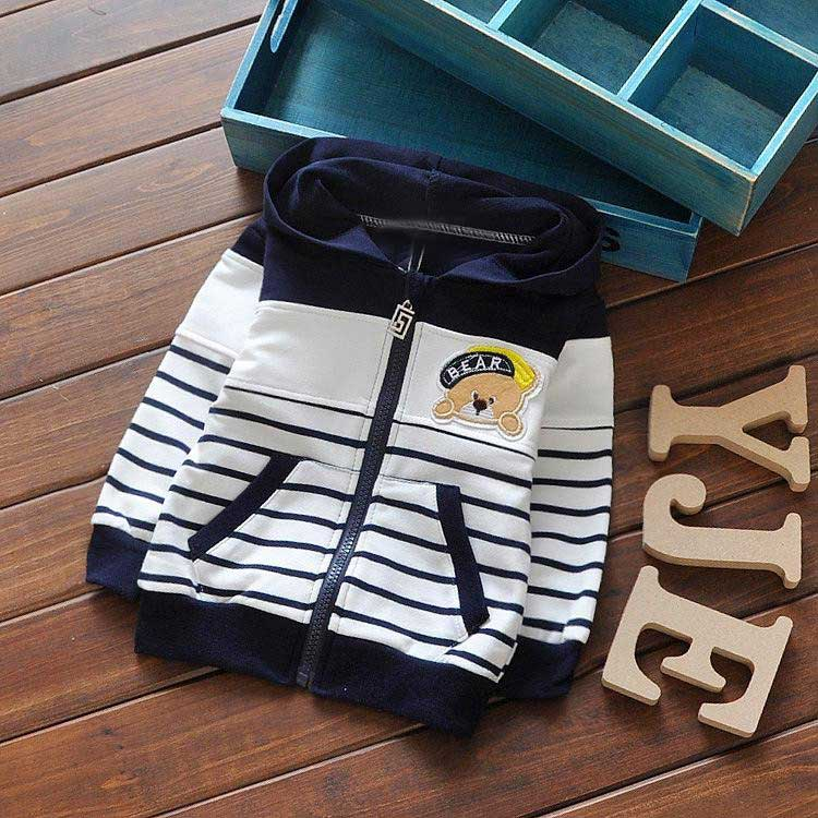 New Spring Children Baby Boys Infant Sweatshirts Cartoon bear stripes Patchwork Coats Hoodies cardigan Y1302