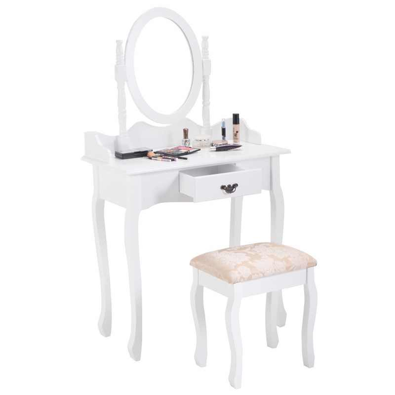 High Quality Vanity Makeup Dressing Table Stool Set with Mirror White Black Makeup Table Chair Bedroom Furniture HW52600