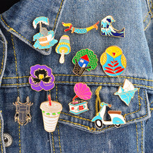 Cartoon Compilation Tree house Icebirg wave bird elephant Motorcycle Brooch Pin Denim Jacket Badge Jewelry Gift Surprise for Kid(China)
