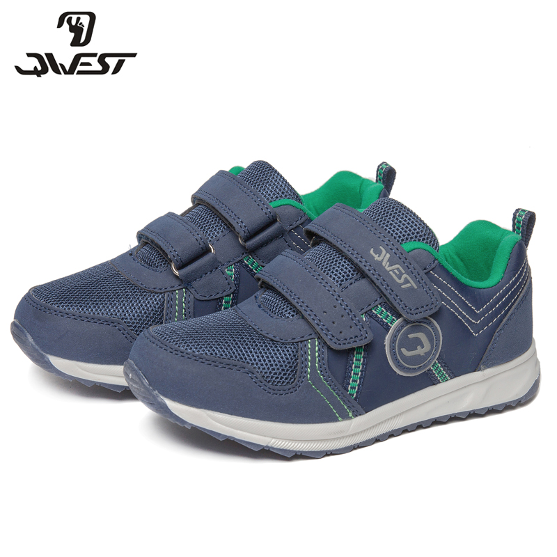 QWEST Brand Leather Insoles Breathable Arch Children Sport Shoes Hook& Loop Size 28-34 Kids Sneaker for Boy 81K-YC-0605 qwest print children sport spring
