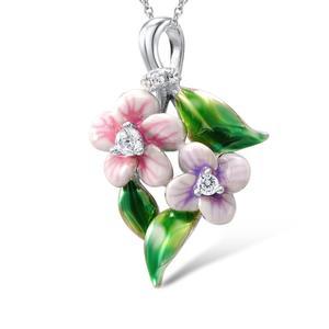Image 4 - Santuzza Sieraden Set Voor Vrouwen 925 Sterling Zilver Delicate Roze Bloem Ring Oorbellen Hanger Mode sieraden Handgemaakte Emaille