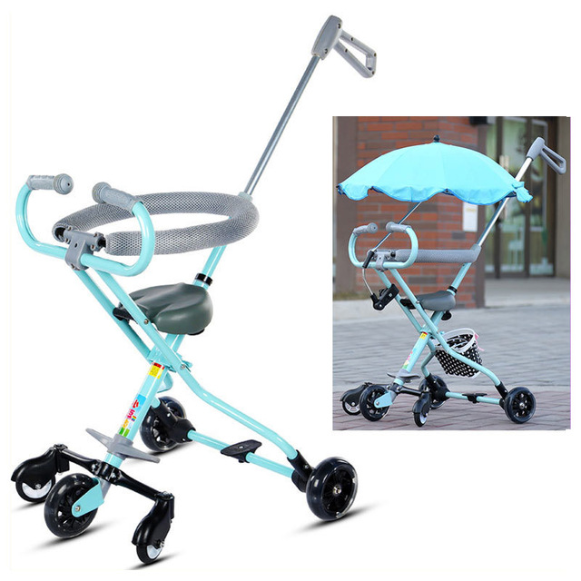 e6317641d1b Portable Baby Tricycle Stroller Foldable Child Toddler Lightweight Tricycle  Three Wheels Stroller Trike Buggy Hand Pushchair