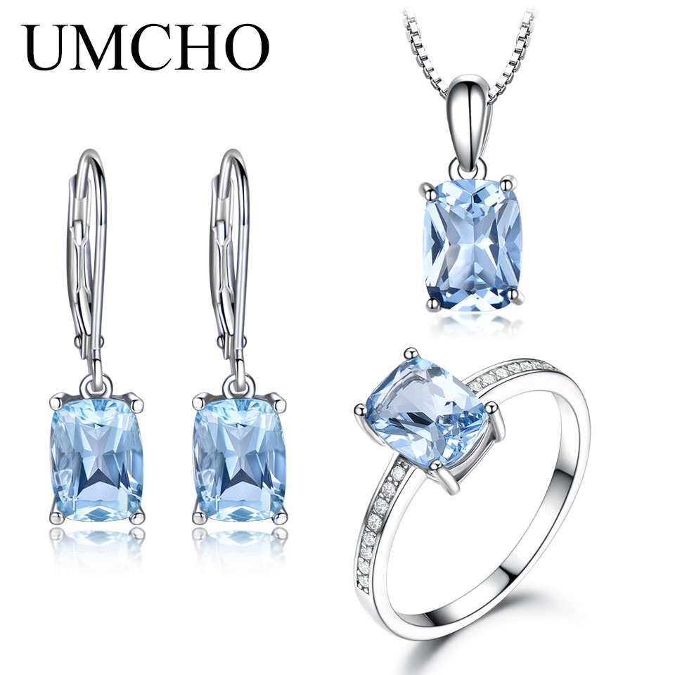 UMCHO Solid 925 Sterling Silver Jewelry Set Aquamarine Sky Blue Topaz Ring Set Pendant Stud Earrings Necklace For Women Gift umcho solid 925 sterling silver necklaces pendants sky blue topaz necklace for women gemstone fashion christmas jewelry new 2019