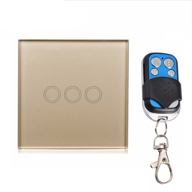 Elite KIiter New EU Standard 3 Gang 1 Way Deluxe luxury toughened glass panel Remote Control Touch Switch Remote Switch smart home eu touch switch wireless remote control wall touch switch 3 gang 1 way white crystal glass panel waterproof power