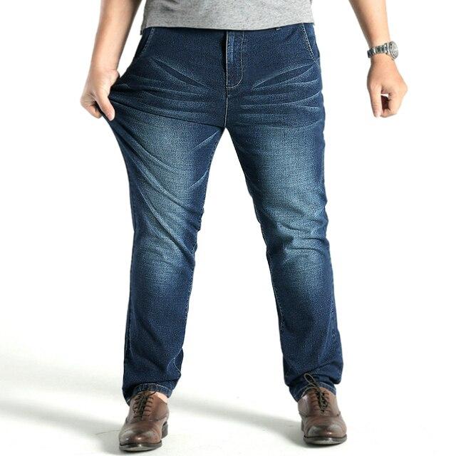 5a6d48d1c8e Large Big Size 48 Men Designer Stretch Casual Straight Leg Denim Jeans Male  Regular fit Cotton Business Trousers vaqueros hombre