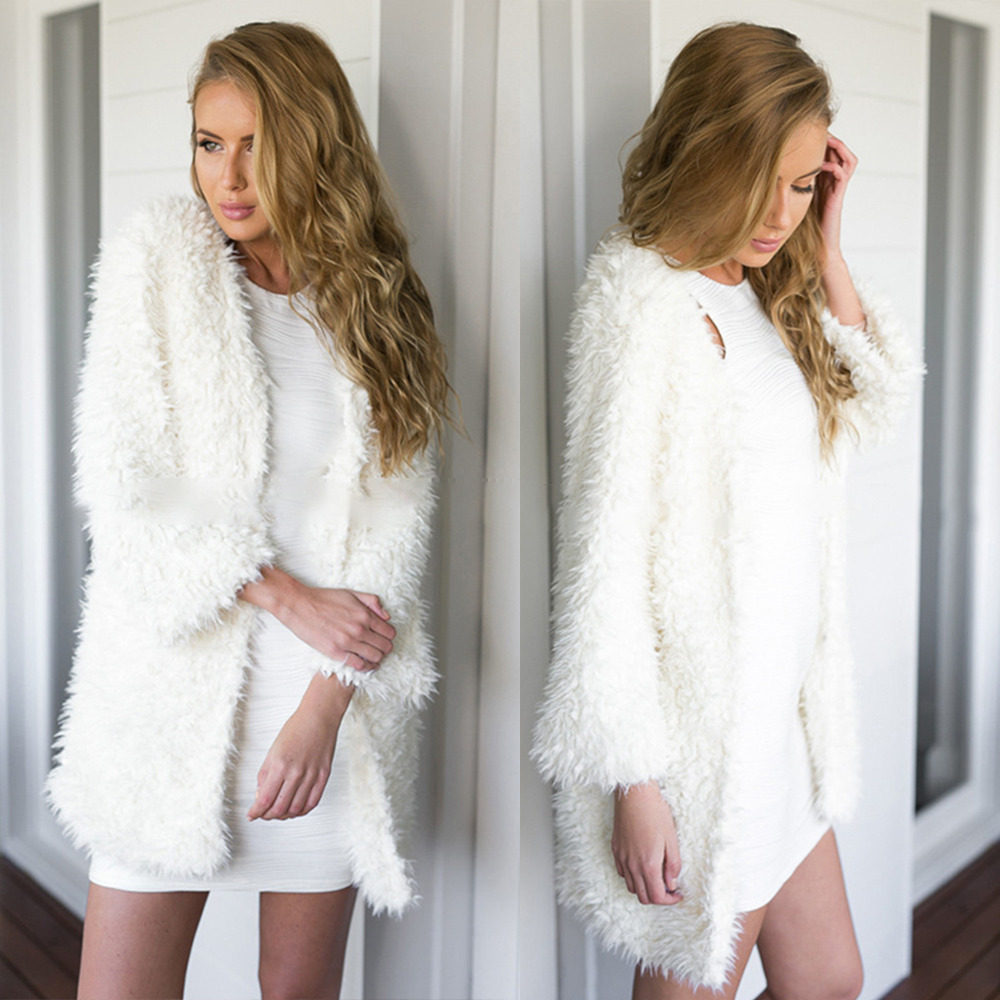Woman White Jacket Winter Shaggy Faux Fur Shearling Fluffy Coat ...