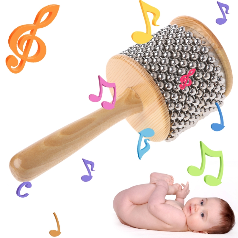 New Toy 1Pc Wood Wooden Cabasa Percussion Musical Instrument Children Kid Teaching Toy Gift