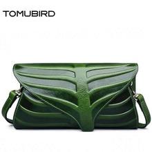 TOMUBIRD superior cowhide leather Leaf Designer Handbags Embossed Leather Clutch Bag Cross Body Purses Women Clutch