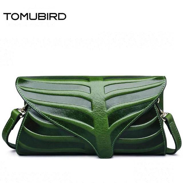 Tomubird Superior Cowhide Leather Leaf Designer Handbags Embossed Clutch Bag Cross Body Purses Women