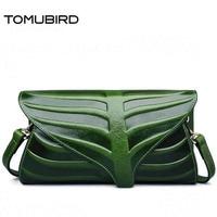 Tomubird Улучшенный натуральной кожи листьев дизайнер Сумки тиснением кожаный клатч через плечо кошельки Для женщин клатч