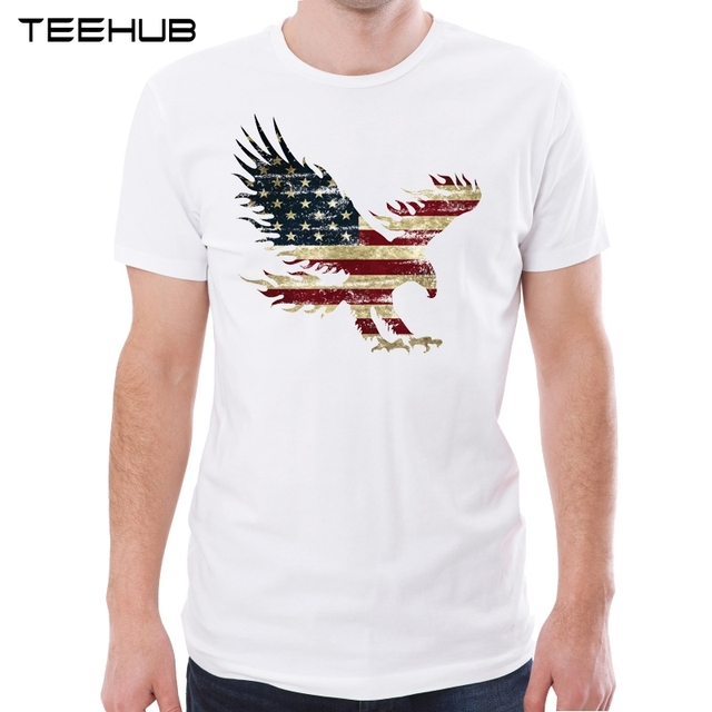 dd2ed2b3 TEEHUB New Arrival 2019 Men Fashion America Eagle Printed T-Shirt Hipster  Tee Cool Design Tops
