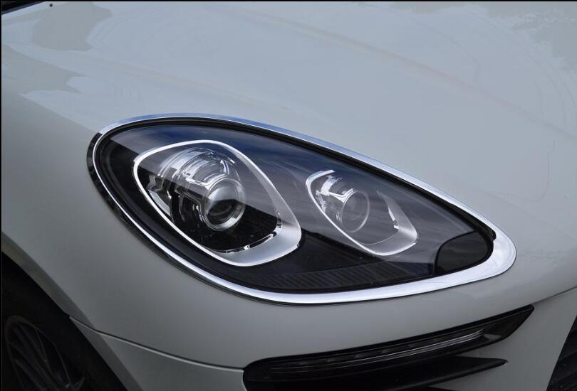 Silvery Chrome plastic Front Head Light Lamp Cover Trim Frame Decoration For Porsche Macan 2014 2015 2016 2017  High quality|Chromium Styling| |  - title=