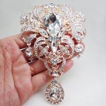 Broche de novia de moda en tono oro rosa, Pin, colgante de flores de cristal brillantes transparentes