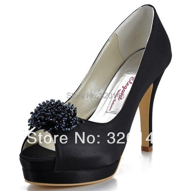 ФОТО Sexy Black High Heel Shoes Women EP11054-IPF Peep Toe Beading Satin Red Evening Party Dress Shoes Woman Wedding Pumps