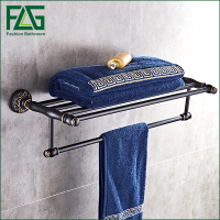 FLG Baked black paint Space aluminuml Wall Mount Aluminum Bathroom Accessories Towel Rack Black fixed bath towel rack