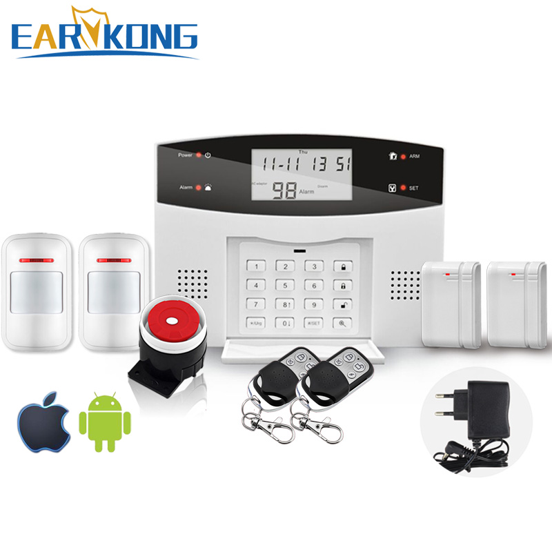 Free Shipping Wireless Home Burglar App PSTN GSM Alarm System Support English / Russian / Spanish / France / Portuguese free shipping hot selling new fashion wireless gsm alarm system 433 mhz 315mhz support english russian spanish language
