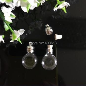 Free ship! 300pcs/lot 5mm flat round glass vial pendant, wish bottle pendants, glass bottle for necklace slide pendants