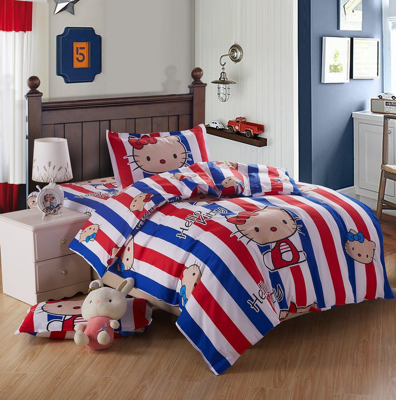 2015 new cute kids cartoon bedding set twin size 3 piece 100 cotton hello kity bedding sets twin kids