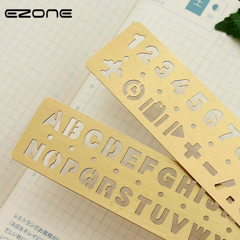 EZONE Number/Alphabet Pattern Ruler Golden Metal Drawing Template Multifunctional Hollow Out Brass Ruler Bookmark School Supply