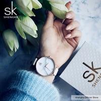 Shengke Fashion Ladies Watches Leather Top Brand Female Quartz Watch Women S Thin Casual Strap Watch