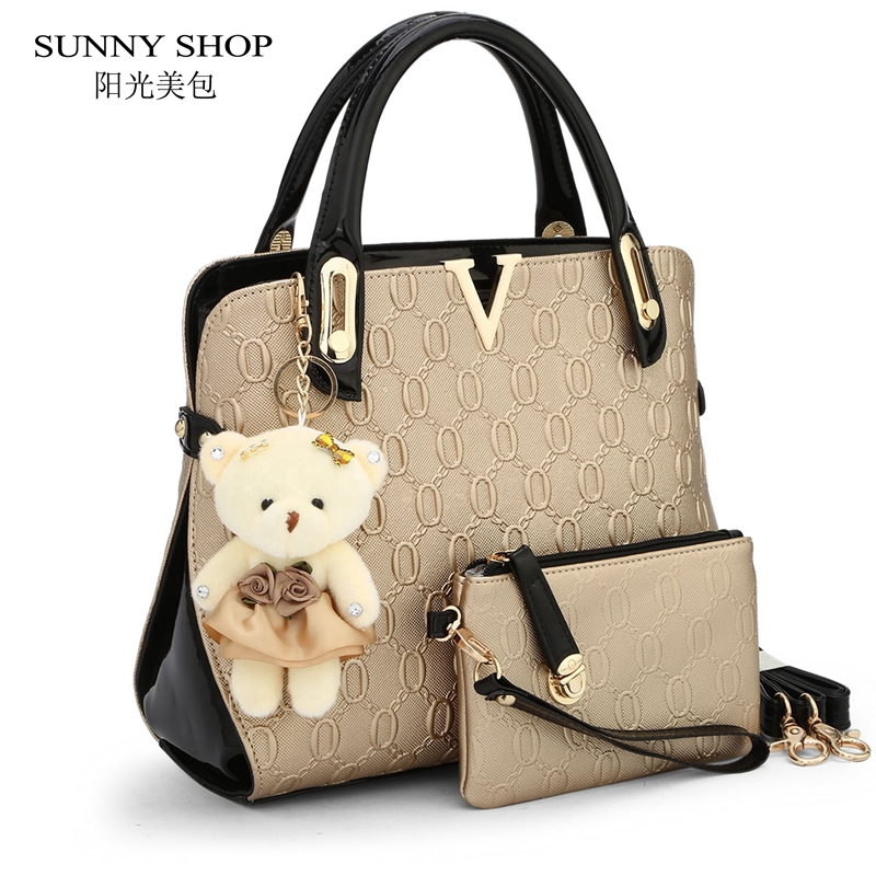 SUNNY SHOP 2 Bags/set With bear toy Casual Embossed Handbag Designer Handbag Hig