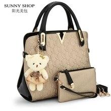 SUNNY SHOP 2 Bags/set With bear toy Casual Embossed Handbag Designer Handbag High Quality Women Messenger Bags Shoulder Bags