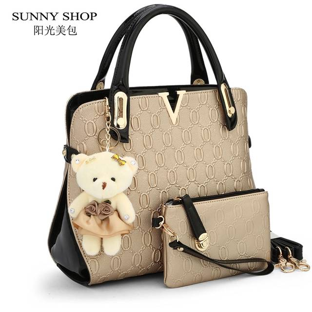d3e58529abbf Detail Feedback Questions about SUNNY SHOP 2 Bags set With bear toy Casual  Embossed Handbag Designer Handbag High Quality Women Messenger Bags  Shoulder Bags ...