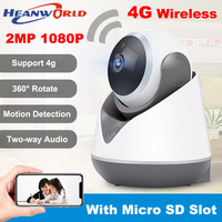 Heanworld 1080P Wireless 4G SIM Card WiFi IP Camera 2.0MP PTZ Home Security Camera 3g CCTV with microphone sd slot night vision