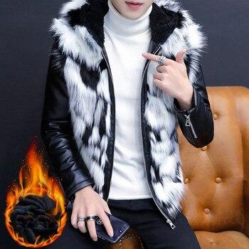 2019 Men's fur coat Men's Hooded cotton jacket Winter cotton coat Fur one coat water jacket Cashmere coat Size M-XXL XXXL