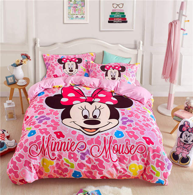 Minnie Mouse Bed Linens Kids Queen Size Bed Set 4pc Girls Home