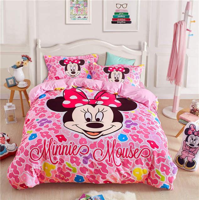 Minnie Mouse Bed Linens Kids Queen Size Set 4pc S Home Textile Autumn Winter Bedspread