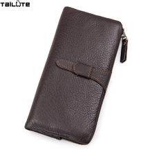 TAILUTE 100% genuine leather bag Long Size Cowhide Purse real mens wallet leather genuine vintage man bag multi-card billfold