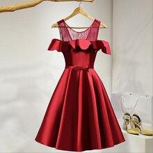 Elegante Kurzen Roten Kleider für Frauen Cocktail Satin Rüschen Off der Schulter Geburtstag Party Kleider Vestidos De Coctel Real Photo
