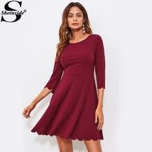 Sheinside гребешок отделка Платья для вечеринок Для женщин бордовый Flare 3/4 рукавом платье 2017 элегантные женские короткое платье;
