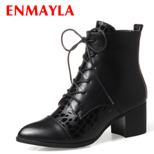 ENMAYLA Lace-up Ankle Boots Women Med Heels Pointed Dance  Pumps Shallow Ladiies Shoes Red White Wedding