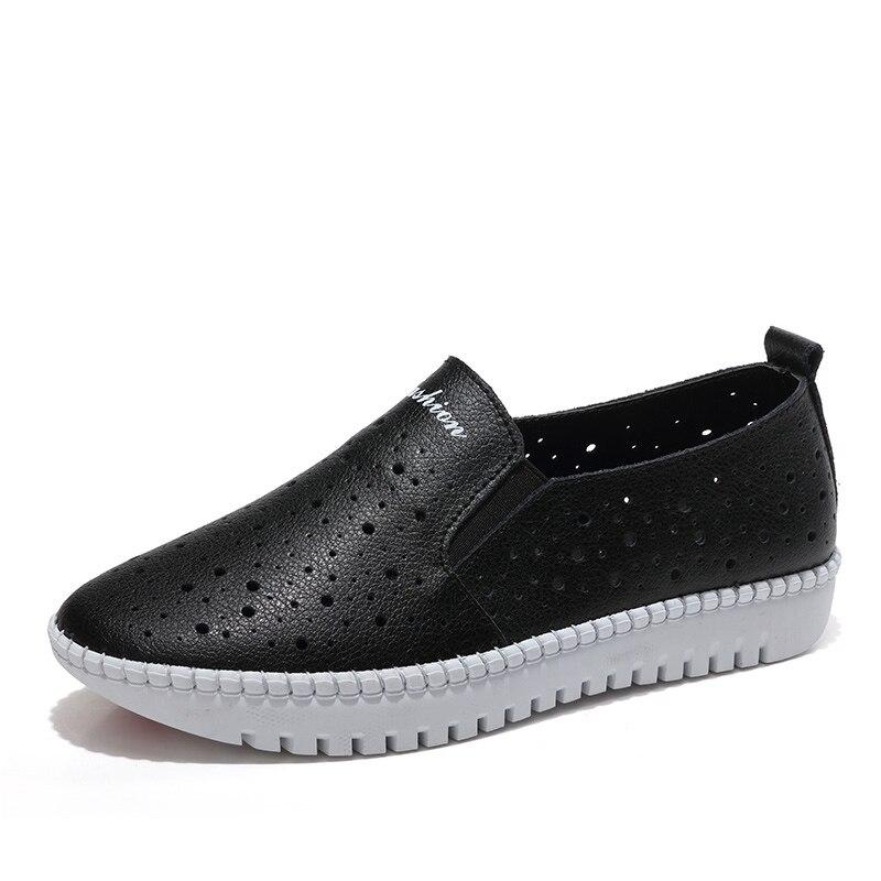 Image 2 - Kobiety trampki buty z prawdziwej skóry Hollow Handmade panie mieszkania płótnie łódź buty kobiece buty wsuwane obuwie ślubneDamskie buty typu flatsButy -