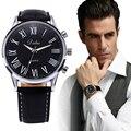Venda quente! homens relógio relogio masculino de Luxo famosa marca 2017 Novo Couro PU Analógico relógio de Pulso de Quartzo de negócios relógio Preto