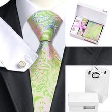 Hot Men Tie Green Pink Paisley Silk Jacquard Ties For Men Hanky Cufflinks Gift Box Bag Set Business Party Wedding Gifts B-645