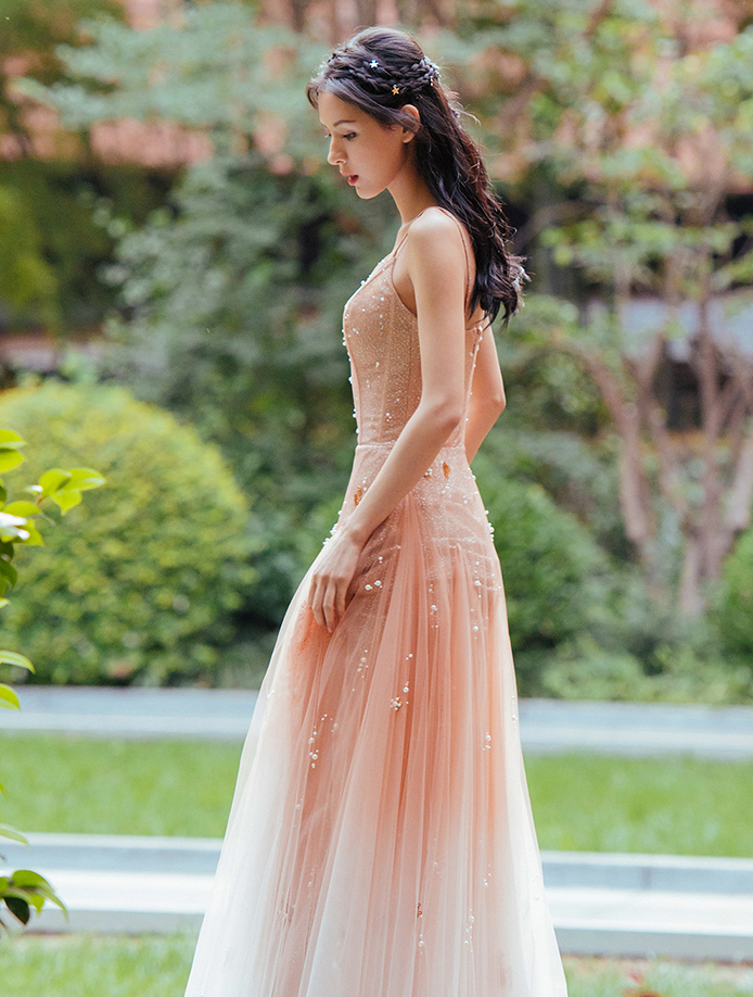 Elegant Starry gradient   Prom     Dresses   2019 Sexy Deep V Neck Long Sleeves Formal Evening Party Gown vestido de novia