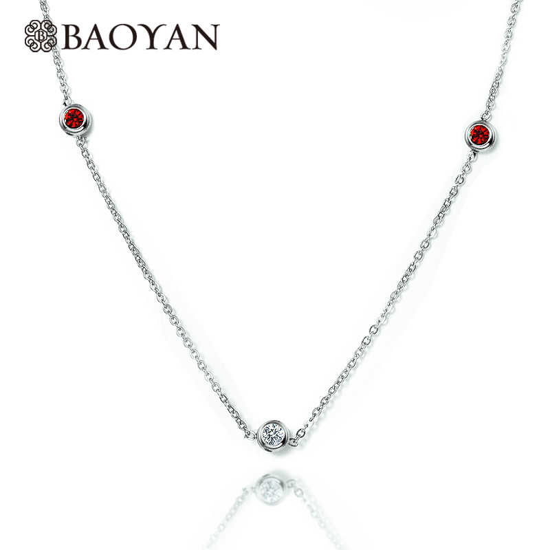 BAOYAN 316L Stainless Steel Silver Color Tiny Zircon Pendant Necklace Christmas gifts for women